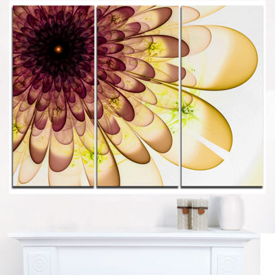 Designart Brown Yellow Typical Flower Fractal Floral Triptych Canvas Art Print