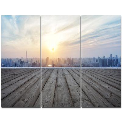 Designart Buildings With Empty Wooden Board Landscape Triptych Canvas Art Print