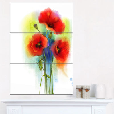 Designart Bunch Of Bright Red Poppy Flowers LargeFlower Triptych Canvas Wall Art