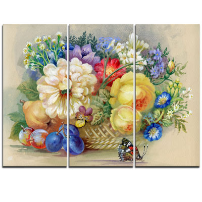 Designart Bunch Of Flowers And Fruits Large FloralWall Art Triptych Canvas