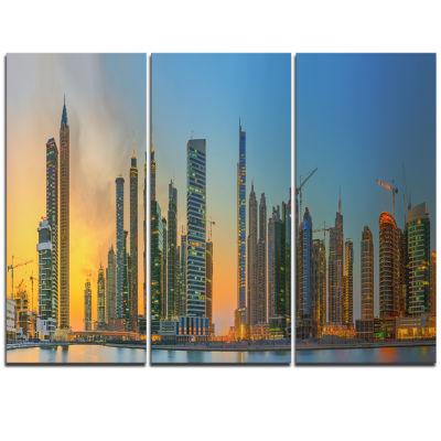 Designart Business Bay And Downtown Dubai Cityscape Triptych Canvas Print
