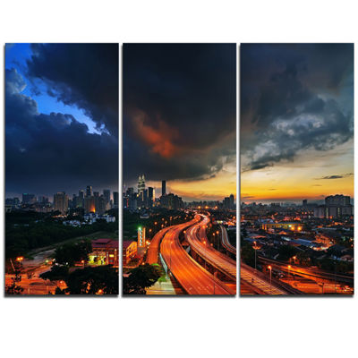 Designart Busy Elevated Highway In Kula Lumpur Cityscape Triptych Canvas Print