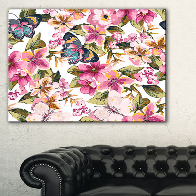 Designart Butterflies With Seamless Floral PatternFloral Canvas Art Print