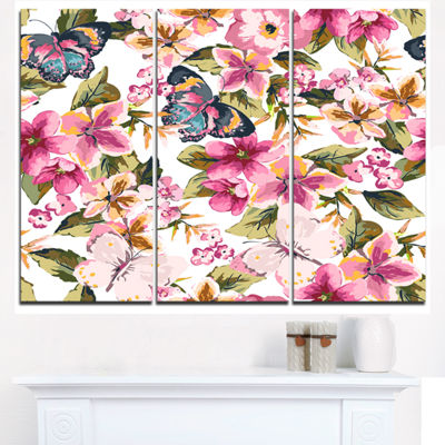 Designart Butterflies With Seamless Floral PatternFloral Triptych Canvas Art Print