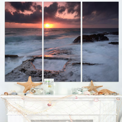 Designart Cable Shallow Coast Cascais Portugal Seashore Triptych Canvas Art Print
