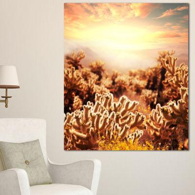 Designart Cactus Plants In Saguaro National Park Floral Canvas Art Print - 3 Panels