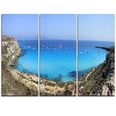 Designart Cala Rossa Beach Sicily Italy Modern Seascape Triptych Canvas Artwork