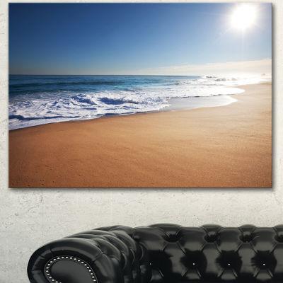 Designart Calm Blue Beach Under Bright Sun Seascape Canvas Art Print