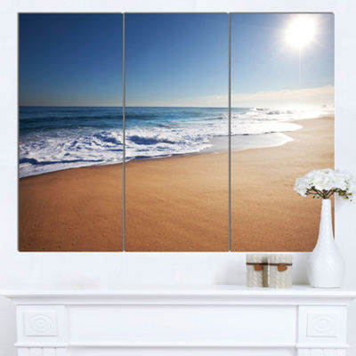Designart Calm Blue Beach Under Bright Sun Seascape Canvas Art Print - 3 Panels