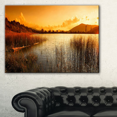 Designart Calm Evening With Lake And Mountains Landscape Artwork Canvas