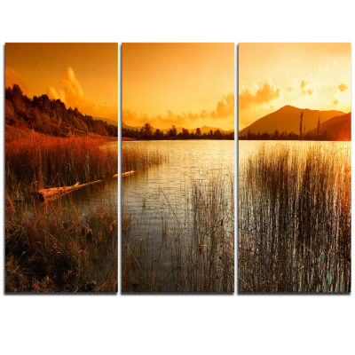 Designart Calm Evening With Lake And Mountains Landscape Artwork Triptych Canvas