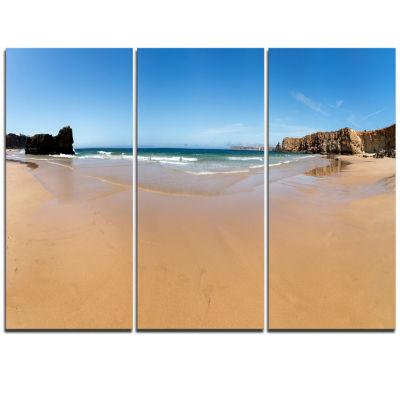 Designart Calm Sandy Coastline Panorama OversizedBeach Triptych Canvas Artwork