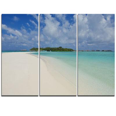 Designart Calm Seashore At Tropical Beach Modern Seascape Triptych Canvas Artwork