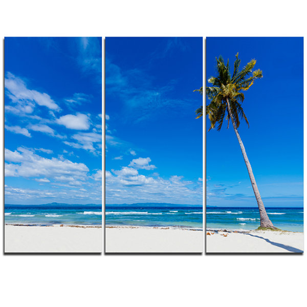 Designart Calm Summer Vacation Beach Philippines Modern Seascape Triptych Canvas Artwork