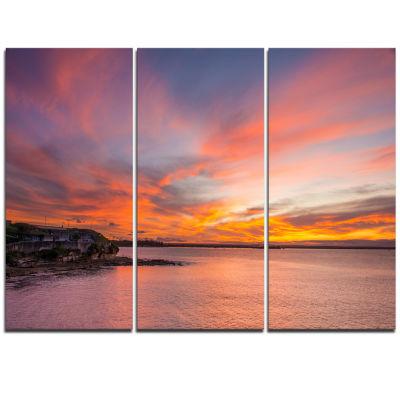Designart Calm Sydney Beach With Yellow Sky LargeSeashore Triptych Canvas Print