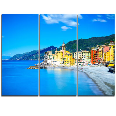 Designart Camogli Church On Sea And Beach View Extra Large Seashore Triptych Canvas Art