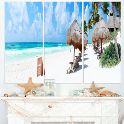 Designart Caribbean Coast In Tulum Mexico Modern Seascape Triptych Canvas Artwork