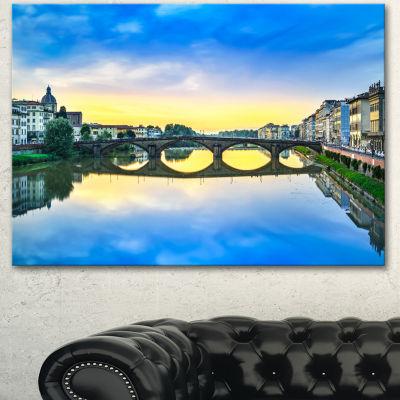 Designart Carraia Medieval Bridge On Arno River Beach Photo Canvas Print - 3 Panels