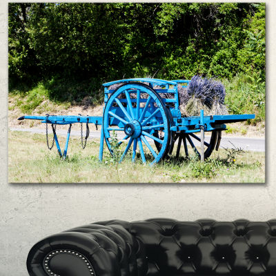 Designart Cart With Lavender In France Landscape Canvas Wall Art - 3 Panels