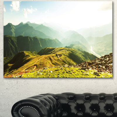 Designart Caucasus Mountains Panorama Landscape Canvas Art Print - 3 Panels