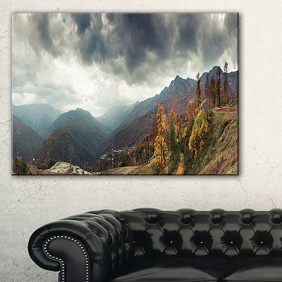 Designart Caucasus Mountains White Panorama Landscape Artwork Canvas