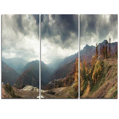 Designart Caucasus Mountains White Panorama Landscape Artwork Triptych Canvas