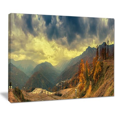 Designart Caucasus Mountains Yellow Panorama Landscape Artwork Canvas