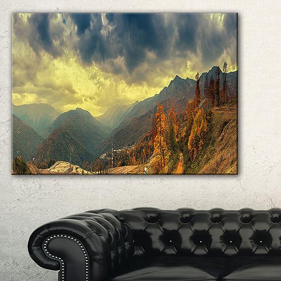 Designart Caucasus Mountains Yellow Panorama Landscape Artwork Canvas
