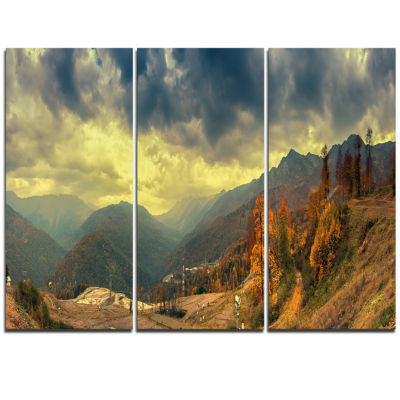 Designart Caucasus Mountains Yellow Panorama Landscape Artwork Triptych Canvas