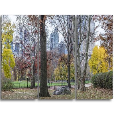 Designart Central Park New York City In Autumn Landscape Triptych Canvas Art Print
