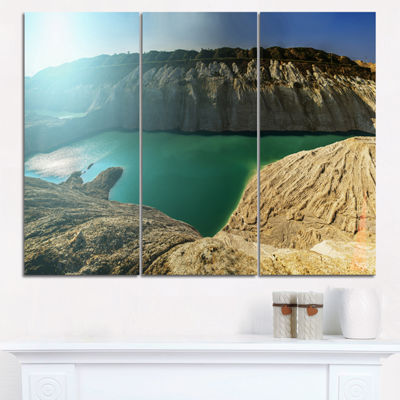 Designart Chalk Quarry In Belarus Panorama Landscape Print Wall Artwork