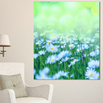 Designart Chamomile Flowers On Green Background Large Flower Canvas Art Print - 3 Panels