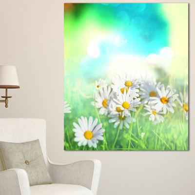 Designart Chamomiles On Abstract Background FloralCanvas Art Print - 3 Panels