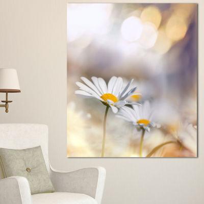 Designart Chamomiles On Blue Background Floral Canvas Art Print