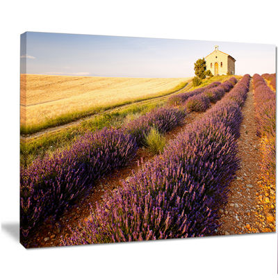 Designart Chapel With Lavender And Grain Field Large Flower Canvas Wall Art