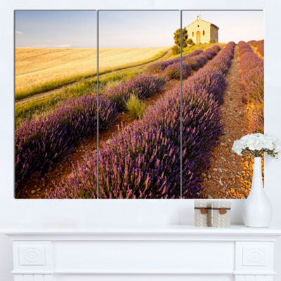 Designart Chapel With Lavender And Grain Field Large Flower Canvas Wall Art - 3 Panels