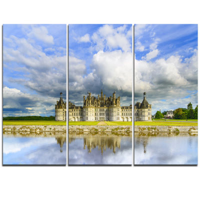 Designart Chateau De Chambord Castle And Reflection Extra Large Seashore Triptych Canvas Art