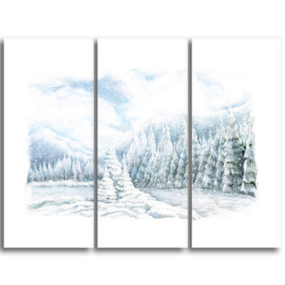 Designart Christmas Winter Happy Panorama Landscape Triptych Canvas Art Print