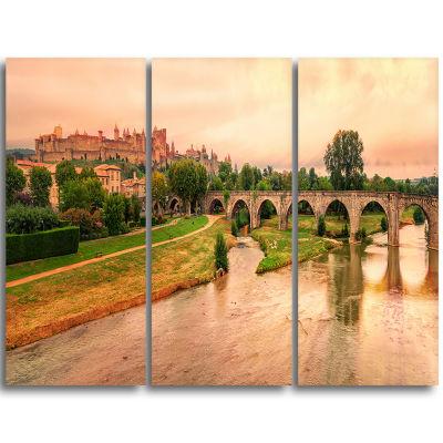Designart Cite De Carcassonne Panorama Landscape Triptych Canvas Art Print