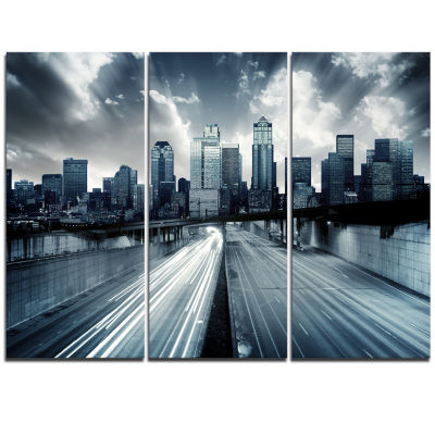 Designart City With Blue Tint Cityscape Triptych Canvas Print