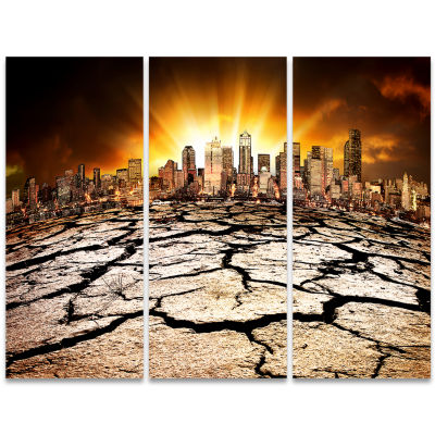 Designart City With Effect Of Climate Change ExtraLarge Wall Art Landscape