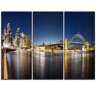 Designart Cityscape Sydney Nightfall Panorama Cityscape Triptych Canvas Print