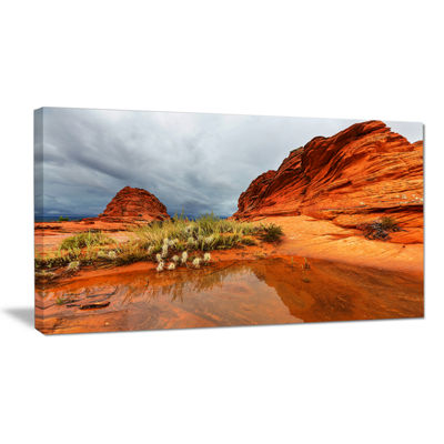 Designart Clear Lake Vermillion Cliffs Oversized Landscape Canvas Art