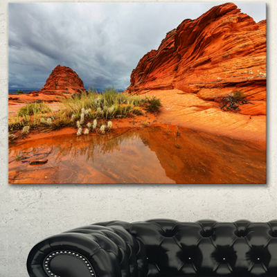 Designart Clear Lake Vermillion Cliffs Oversized Landscape Canvas Art - 3 Panels