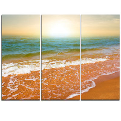 Designart Clear Waters In Early Morning Beach Large Seashore Triptych Canvas Print