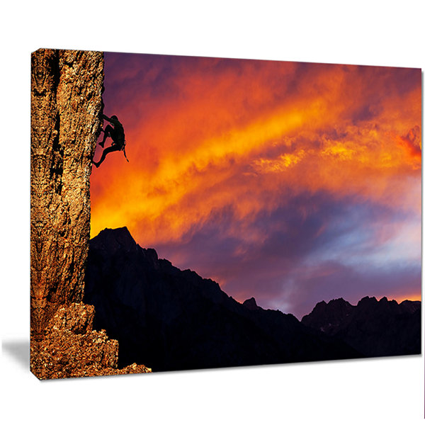 Designart Climber On Sunset Background Extra LargeLandscape Canvas Art