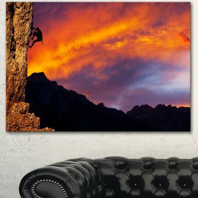 Designart Climber On Sunset Background Extra LargeLandscape Canvas Art - 3 Panels