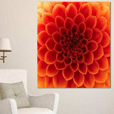 Designart Close Up Orange Flower Petals Floral Canvas Art Print