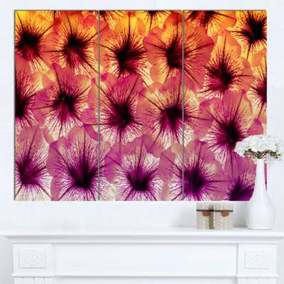 Designart Close Up Purple Flower Design Floral Canvas Art Print - 3 Panels