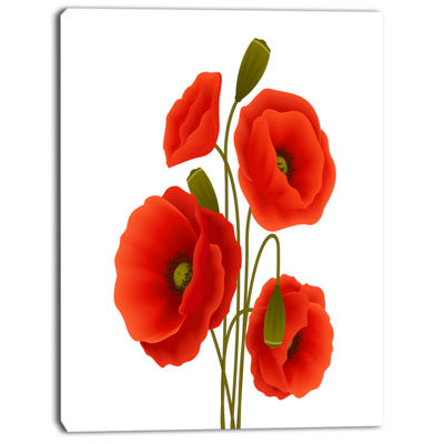 Designart Close Up View Of Poppy On White Floral Canvas Art Print